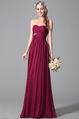 Flattering Strapless Bridesmaid Dress With Flowing Sash (07150717)