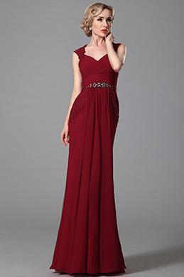 Robe de soirée rouge moulante dentelle dos sans manche (00152502)