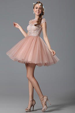 Flattering Delicate Lace Applique Pink Cocktail Dress Party Dress (04150601)