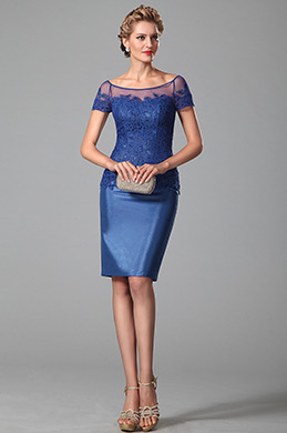 Azul Vestido Corto Para Madre Corte Redondo Encaje(26150205)