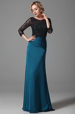 Robe mère de mariée longue bleu manches en dentelle (26152805)