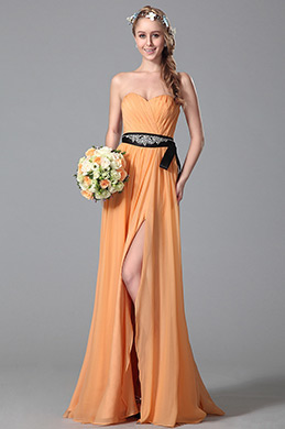 Robe demoiselle d'honneur orange A-line fendue sans bretelle (07150410)