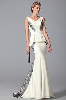 eDressit Robe de soirée blanche sirène péplum sans manche (26151507)