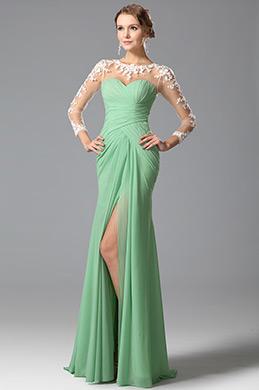 eDressit Robe de soirée/témoin verte fendue avec dentelle (00150304)