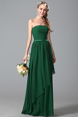 Strapless Green Bridesmaid Dress With Asymmetric Hem (07150904)