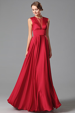 eDressit  Vestido Formal Largo Sin Mangas Simple Color Rojo (00151402)