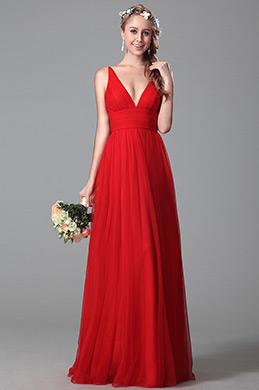 eDressit Robe de demoiselle d'honneur longue rouge col en V (07151002)