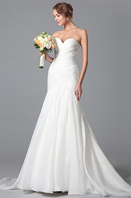 Simple Sweetheart Neck Wedding Dress Bridal Gown (01150407)