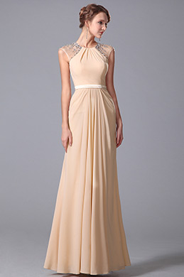 Elegant Beaded Cap Sleeves Floor Length Evening Dress Formal Gown (00150414)