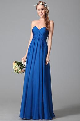 eDressi Robe demoiselle d'honneur bleu bustier taille empire(07150605)
