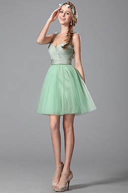 Flattering Sleeveless Floral Back Light Green Homecoming Dress (04150304)