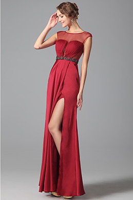 Stylish Pleated Bodice Sheer Overlay Gown With Side Slit (00151302)