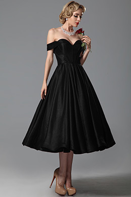 Vintage Sweetheart Off Shoulder Tea Length Party Dress Cocktail Dress (04151600)