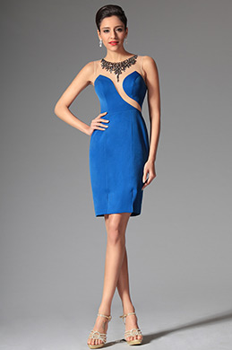 Stylish Sleeveless Short Blue Day Dress Formal Party Dress (03143805)