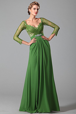 Long Lace Sleeves Green Mother of the Bride Gown (26150904)