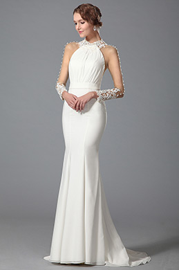 eDressit White Trumpet Long Sleeve Evening Dress Wedding Gown