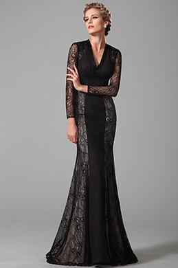 Wunderbar Lang Spitze Ärmel Schwarz Brautmutter Kleid (26151000)