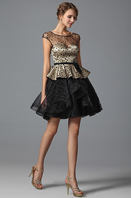 Schwarz Kappe Ärmel Kurz Kleid Mit Polar Dots Design (03150400)