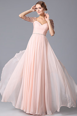 Sweetheart Embroidery Beaded Half Sleeves Evening Dress (00150501)