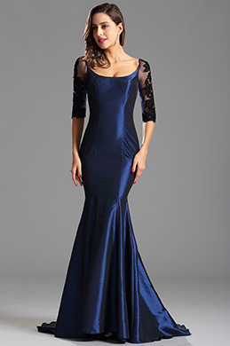 Half Lace Sleeves Trumpet Blue Formal Dress Evening Gown (X26151605)