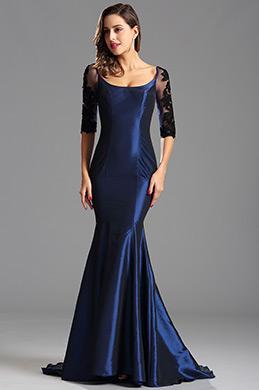 Halb Spitzenarmeln Trompete Blau Formales Kleid Abendkleid(X26151605)