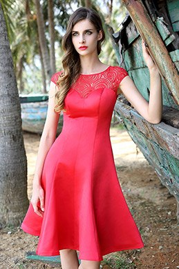 Lace Top Sweetheart Neck Red Party Dress (04160302)
