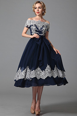 eDressit Vintage Off Shoulder Navy Blue Cocktail Dress (04151905)