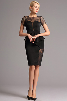 Vintage Lace Short Sleeves Black Short Dress (26160600)
