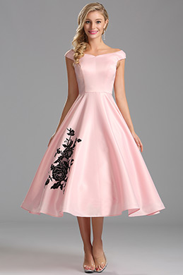 Off Shoulder Pink Tea Length Cocktail Dress (X04161101)