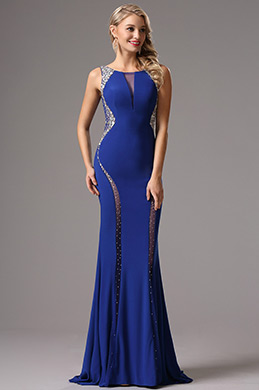 Plunging V Back Beaded Blue Prom Dress Formal Gown (36160305)