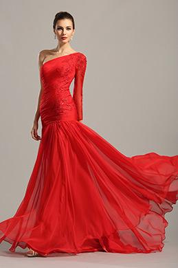 Robe de soirée longue rouge asymétrique avec dentelle (02153902)