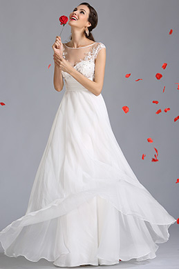 A Line Empire Waist Embroidered Wedding Dress (01142207)