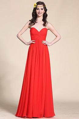 Trögerlos Süßausschnitt Rot Abendkleid Brautjungfernkleid (07153802)