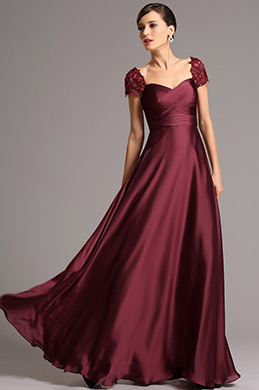 Bestickt Kappe Ärmel Bordeaux Lang Formal Kleid (26161417)