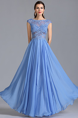 A Line Capped Sleeves Blue Evening Dress Formal Gown (C36153105)