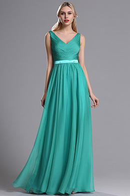 eDressit Teal Straps Plunging V Neck Ruched Bridesmaid Dress (07160504)