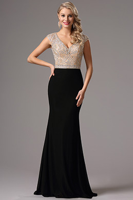 Capped Sleeves Plunging Neck Beaded Formal Dress (36162000)