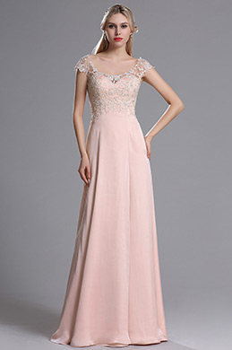 eDressit Pink Sweetheart Cap Sleeves Long Prom Evening Dress (00164201)