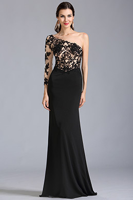 Stylish One Sleeve Black Lace Formal Gown Prom Dress (00154200)