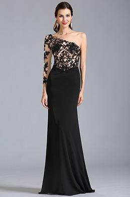 Stilvoll Ein Schulter Schwarz Spitze Formal Kleid Ballkleid (00154200)