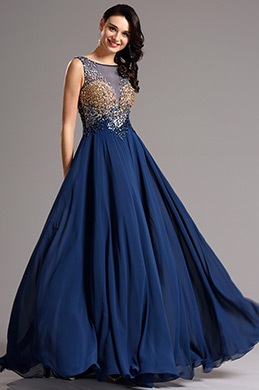 Luxurious A Line Empire Waist Beaded Blue Formal Dress (36161405)