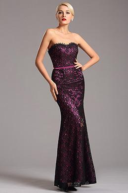 Robe de soirée longue bustier violette en dentelle (X07151206)