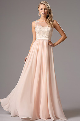 Elegant A Line Sleeveless Pink Chiffon Evening Dress (00162814)