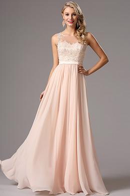 Elegant A-Linie Trägerlos Rosa Chiffon Abendkleid (00162814)