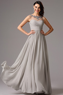 Illusion Applique Sweetheart Grey Evening Dress Formal Dress (00161908)