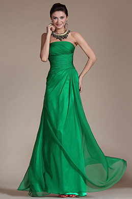 2014 New Green Strapless Pleated Evening Gown (C00142904)