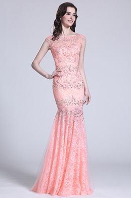 Cap Sleeves Pink Evening Gown With Beaded Details (C36151701)