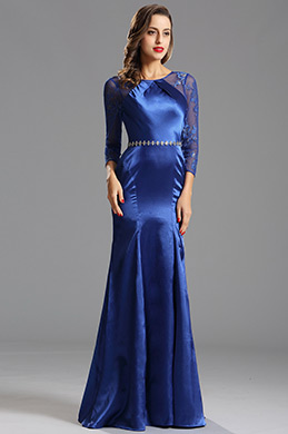 Graceful Blue Formal Gown with Keyhole Back (X00153105-1)