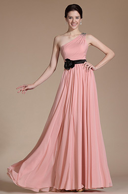 Graceful One Shoulder A-line Evening Gown (C00143001)