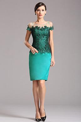 Azul Vestido Corto Para Madre Corte Redondo Encaje (X26150232)
